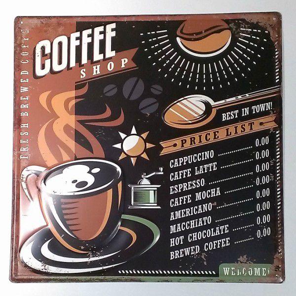 アメリカン ブリキ看板 コーヒーショップ Coffee Shop プレート メタル かわいい レトロ 看板 ビンテージ アメリカン雑貨 アメリカ カフェ 喫茶店 店舗用