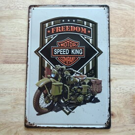 ブリキ看板 バイク アメリカン FREEDOM ガレージ プレート 壁飾り ビンテージ 雑貨 インテリア かっこいい おしゃれ サーファー カフェ 店舗