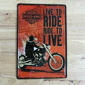 ブリキ看板アメリカン バイク RIDE TO LIVE ビンテージ ガレージ プレート 壁飾り ビンテージ 雑貨 インテリア 可愛い かわいい サーファー カフェ 店舗