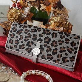 【cooga】<完全本数限定製作>毛付きキッドレザー(仔ヤギ革)で大人レオパードを楽しむ。スマート時代の新定番。厚さたった2cmの長財布 Flat leopard(フラットレオパード)レディース 長財布 352-G30123-20