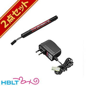 【2点セット】東京マルイNo166ニッケル水素8.4VAKバッテリー1300mAh+No197NEW8.4V充電器セット/Battery/充電器/セット
