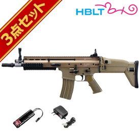東京マルイ 次世代電動ガン SCAR-L (スカーL) CQC FDE NEWニッケル フルセット /電動 エアガン (本体+バッテリー+充電器) サバゲー 銃