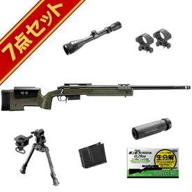 東京マルイ M40A5 OD 7点 スナイパーライフル フルセット /エアガン (ボルトアクションエアーライフル 本体+予備マガジン+スコープ+サイレンサー+バイポッド+精密射撃用BB弾) スナイパー ライフル Sniper Rifle M40A5 スターター サバゲー 銃