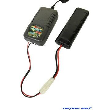 【LiPoバッテリー4点セット】OPTIONNo.1−HighPowerLiPo560mAh7.4V電動コンパクトマシンガンタイプ(リポバッテリー+コネクタ+充電器+チェッカー)/マッチド/リポ/LI-PO/Battery/充電式/電池/セット/スターター
