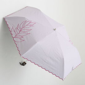 【UVカット100%生地×ショートワイド傘】【晴雨兼用傘・日傘】裾スカラー&2駒リーフ刺繍ミニ(ピンク) 50cm(スーパーミニ)UVカット/遮熱/レディース/折りたたみ傘/コンパクト&運びやすい/大きい傘/使いやすい/運びやすい雨傘