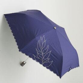 【UVカット100%生地×ショートワイド傘】【晴雨兼用傘・日傘】裾スカラー&2駒リーフ刺繍ミニ(ネイビー) 50cm(スーパーミニ)UVカット/遮熱/レディース/折りたたみ傘/コンパクト&運びやすい/大きい傘/使いやすい/運びやすい雨傘