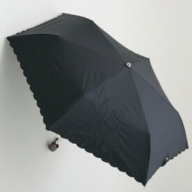 【UVカット100%生地×ショートワイド傘】【晴雨兼用傘・日傘】裾スカラー&2駒リーフ刺繍ミニ(ブラック) 50cm(スーパーミニ)UVカット/遮熱/レディース/折りたたみ傘/コンパクト&運びやすい/大きい傘/使いやすい/運びやすい雨傘