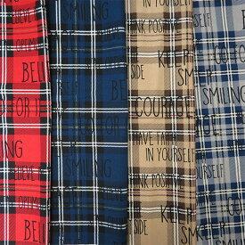 ※5個(50cm)以上からご注文下さい※ WARM CLOTH タータンチェック柄 10番キャンバス生地 約110cm幅 10cm単位価格   コットン プリント チェック ロゴ ブリティッシュ 英字 文字 手芸 手作り ハンドメイド