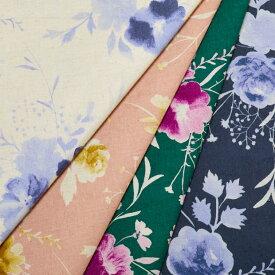 [数量5個から承ります] Closet -Tone flower- ローズ柄 綿麻シーチング生地 約110cm幅×10cm単位計り売り| コットン リネン 花柄 薔薇 ぼかし 水彩 服地 クラシック ナチュラル ワンピース スカート インテリア 大柄 プリント 洋裁 手芸 手作り ハンドメイド