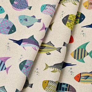 [数量5個から承ります] パターンフルアニマル 魚柄 綿麻キャンバス生地 約110cm幅×10cm単位計り売り| コットン リネン プリント 布 雑貨 動物 切り売り 手芸 手作り ハンドメイド