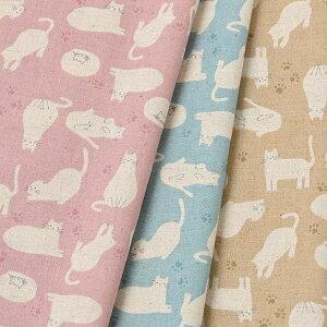 [数量5個から承ります] ホワイトアニマル ネコ柄 綿麻シーチング生地 約110cm幅×10cm単位計り売り| コットン リネン プリント 布 動物 猫 切り売り 手芸 手作り ハンドメイド