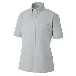 アイトス 半袖ニットボタンダウンシャツ(男女兼用) カラー:グレー サイズ:M (ハンソデニットワイドボタン) [7854ー004]