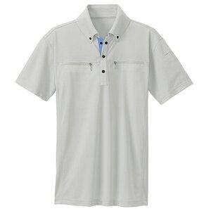 アイトス ボタンダウンダブルジップ半袖ポロシャツ(男女兼用) カラー:シルバーグレー サイズ:3L (BDダブルジップハンソデ) [10602ー003]