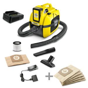 (純正アクセサリーまとめて購入) ケルヒャー 乾湿両用充電バキュームクリーナーWD1 (急速充電器付) + WD1用紙パック5枚組
