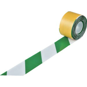 ■緑十字 高耐久ラインテープ 白/緑 JU−1010WG 100mm幅×10m 両端テーパー構造〔品番:403089〕【1149689:0】