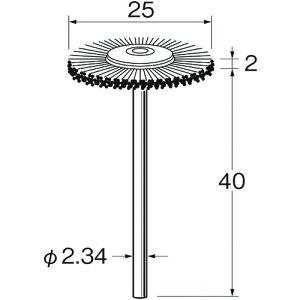 ■リューター 軸付ホイール型ブラシ軸径(MM):2.34毛材:硬鋼線〔品番:B1218〕【1284892:0】[送料別途見積り][法人・事業所限定][掲外取寄]
