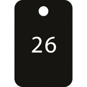 ■OP 番号札 四角 大 番号入り26〜50 黒 (25枚入) 〔品番:BF-55-BK〕掲外取寄【1594736:0】