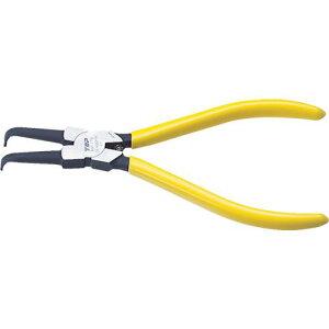 ■TOP スナップリングプライヤ穴用曲爪 125MM 使用範囲6〜11MM 〔品番:HB-125F〕【3597954:0】