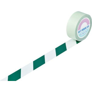 ■緑十字 ガードテープ(ラインテープ) 白/緑(トラ柄) 50MM幅×100M 148064 【8353741:0】