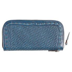 【デグナー】W-87P-BLUE パティーヌ&カービングレザージップウォレット ブルー