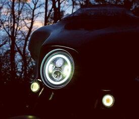 【WMW】MS-881W-B-SET 7インチLEDヘッドライトセット ホワイトHALOリング ブラック