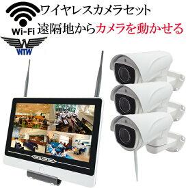 【カメラを遠隔で自由に操作できる】防犯カメラ 監視カメラ ワイヤレス 220万画素 ワイヤレス防犯カメラ WI-FI環境対応 台数自由 3台セット HDC-EGR12 イーグル NVR パンチルト 首ふり WTW-EGR993PT WTW-EG2542LH WTW-EGR993PTS