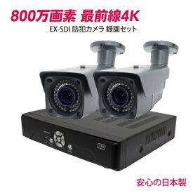 防犯カメラ 監視カメラ 800万画素 EX-SDI 赤外線 4K 防犯カメラ セット 4chDVR 4K対応 3年保証 【カメラ2台セット 今だけ!!標準2TB搭載】WTW-DEHP584E WTW-EVR83EB