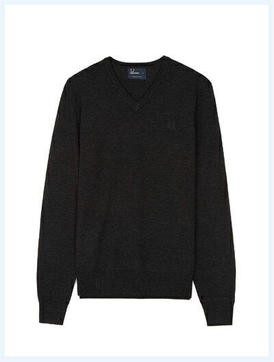 FRED PERRY フレッドペリー / クラシックVネックセーター(K4500) Black Marl