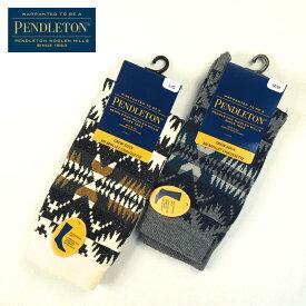 PENDLETON ペンドルトン 靴下 SOCKS 85-6437 メンズ レディース くつした ソックス ハイソックス ミドルソックス USA製 リブソックス ブランド 白 ホワイト グレー ネイビー ネイティブ シンプル カジュアル ギフト プレゼント 贈り物 メール便可