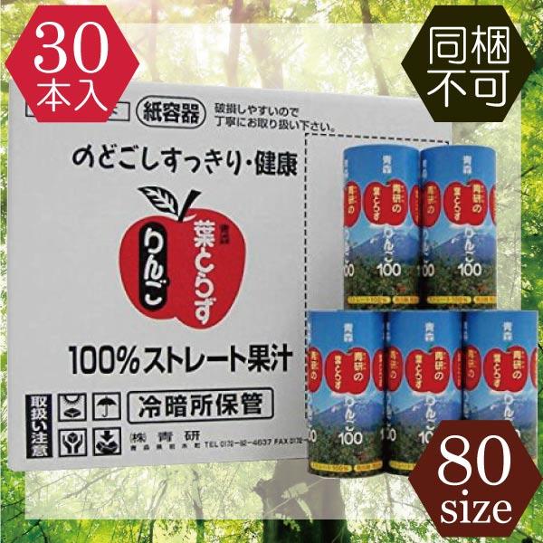 (送料無料)青研 葉とらずりんごジュース100(195g)×30本
