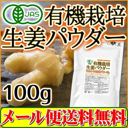オーガニック 有機栽培生姜パウダー100g(無添加 しょうがパウダー しょうが粉末 生姜粉末 送料無料)