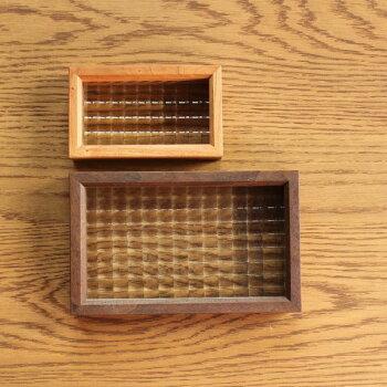 クロスガラスフレーム・Sサイズ/チェリー材ガラスフレーム置物ディスプレイレトロクロスガラスチェッカーガラスインテリア無垢材木製置物北欧ナチュラル