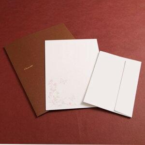 【Cuoretti】 プチ レターセット コットン (蝶と花) 便箋 封筒 セット シンプル 大人 おしゃれ