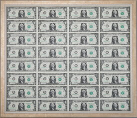 【代引き不可】米国1ドル紙幣未裁断シート 額縁付 開運グッズ 金運アップ コレクター コレクション グッズ アメリカ ドル 米ドル 1ドル 紙幣 未裁断 コレクターズグッズ