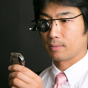 【限定クーポン】LEDライト付 ハンズフリー眼鏡型20倍ヘッドルーペ 拡大鏡 ルーペ メガネ型ルーペ 跳ね上げ式ルーペ