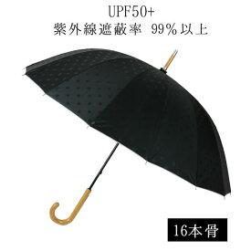 日傘 傘 レディース 晴雨兼用傘 16本骨 エンボス ドット 55cm 裏シルバー UVカット