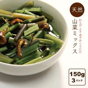 山菜ミックス水煮 450g(150g×3パック) 送料無料 国産 山菜加工品 田舎のごちそう