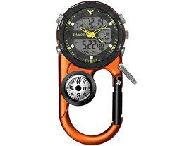 Dakota ダコタ カラビナウォッチ Angler II デジタル・クリップ時計 (オレンジ) 3気圧防水・デジタルライト・温度計・アラーム・方位磁石・クロノグラフ おすすめです♪