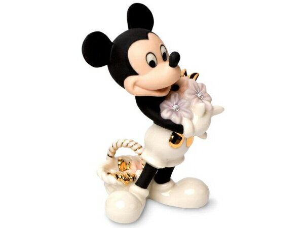 Lenox レノックス ディズニー・フィギュア ミッキーマウス Mickey's Flowers for You24Kアクセント白磁フィギュア おすすめです♪