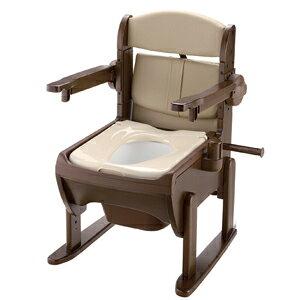 リッチェル 木製きらく片付け簡単トイレ 肘掛跳ね上げ 暖房便座 【ポータブル トイレ 排泄 消臭 簡易 介護 福祉 跳ね上げ】