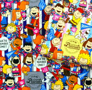 2020年キャラクターFABRIC スヌーピー【TEAM Peanuts】/オックス/チームピーナッツ/生地/布/綿/キャラクター/スヌーピー/入園/入学/通園/バッグ/大人向け/