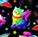 USAコットン Timeless Treasures「キャットコーン」/生地/布/綿/猫/ネコ/ねこ/輸入生地/レインボー/ユニコーン/銀河/
