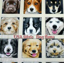 約58cmパネル販売/USAコットン エリザベススタジオ Dog flame/犬/リアルシリーズ/イヌ/生地/布/綿/輸入生地/ブランド生地/USA/ドッグフレーム