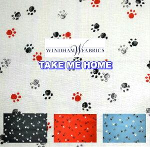 猫好き集まれ USA FABRIC WINDHAM FABRIC【TAKE ME HOME】肉球1cm/生地/布/猫/犬/柄/輸入生地/ブランド