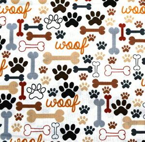 USA コットン 「Footprint bone」 /生地/布/綿/犬/犬柄/ドッグ/輸入生地/いぬ/イヌ/骨/ホネ/肉球