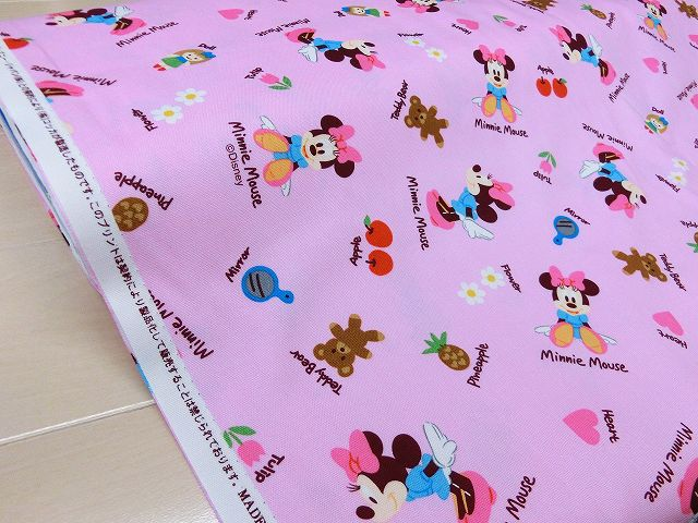 ベビーミニー [ピンク] コットン100% オックス /生地/布/綿/キャラクター/ディズニー/入園/入学/通園/バッグ/ミニーマウス
