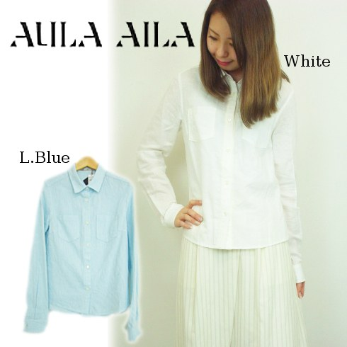 【あす楽】AULA AILA(アウラアイラ)コットンリネンシャツ 15春夏.【1152-04014】15S-S シャツ・ブラウス