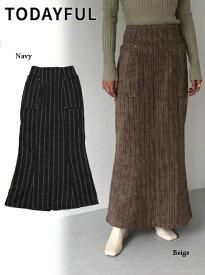 予約商品  TODAYFUL トゥデイフル Jacquard Stripe Skirts 19秋冬.予約 11920812 フレアスカート ジャガードストライプシャツ ブラウス ストライプ