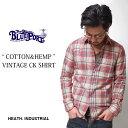 シャツ カジュアルシャツ チェックシャツ メンズ 長袖 綿麻 日本製 国産 MADE IN JAPAN きれい ヴィンテージ HEATH. …