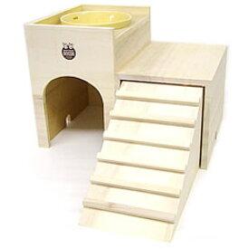 うさちゃんの2階でごはん/ハウス 寝床 天然木 食器 エサ入れ 陶器 小動物 ウサギ モルモット チンチラ MARUKAN マルカン